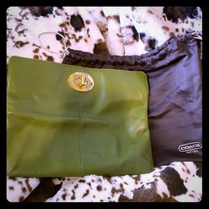 Coach Green Leather Clutch